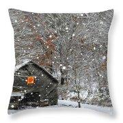North Carolina Quilt Barn Throw Pillow