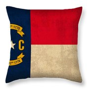 North Carolina State Flag Art On Worn Canvas Throw Pillow