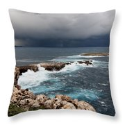 Wild Rocks At North Coast Of Minorca In Middle Of A Wild Sea With Stormy Clouds Throw Pillow
