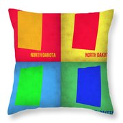 North Dakota Pop Art Map 1 Throw Pillow by Naxart Studio
