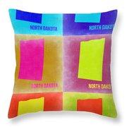 North Dakota Pop Art Map 2 Throw Pillow