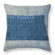 North Dakota Word Art State Map On Canvas Throw Pillow