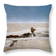 North Pole Dog Sled, C1910 Throw Pillow