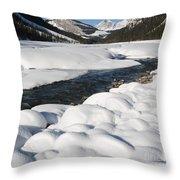 North Saskatchewan River In Winter Throw Pillow