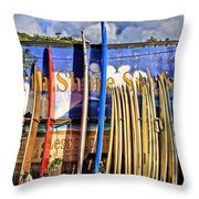 North Shore Surf Shop Throw Pillow