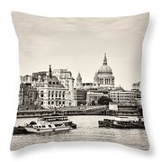 North Side Of The Thames Bw Throw Pillow