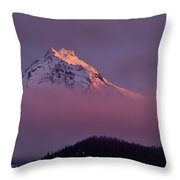 North Sister Volcano,last Evening Light Throw Pillow