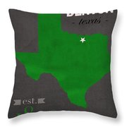 North Texas University Mean Green Denton College Town State Map Poster Series No 078 Throw Pillow