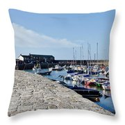 North Wall - Lyme Regis Harbour Throw Pillow