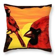 Northern Cardinals At Sunrise Throw Pillow