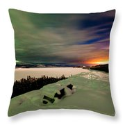 Northern Lights And City Light Pollution Night Sky Throw Pillow