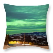 Northern Lights Aurora Borealis Over Rural Winter Throw Pillow
