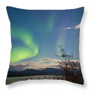 Northern Lights Full Moon Over Lake Laberge Yukon Throw Pillow