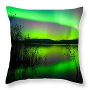 Northern Lights Mirrored On Lake Throw Pillow