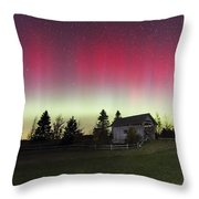 Northern Lights Over Foster Covered  Bridge Cabot Vt Throw Pillow