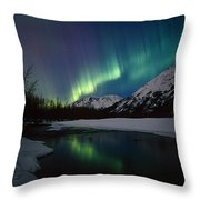 Northern Lights Over Portage River Throw Pillow