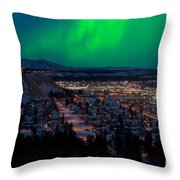 Northern Lights Over Whitehorse Throw Pillow
