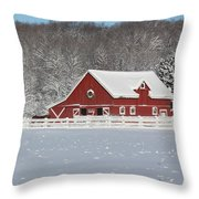 Northern Michigan Country Winter Throw Pillow