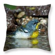 Northern Parula Parula Americana Soaking Throw Pillow
