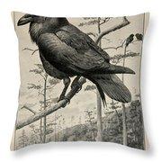 Northern Raven Throw Pillow