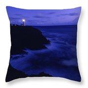 Northhead Ilwaco Lighthouse Washington Coastline Throw Pillow