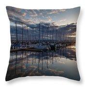 Northwest Marina Sunset Sunstar Throw Pillow