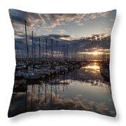 Northwest Sunset Marina Throw Pillow
