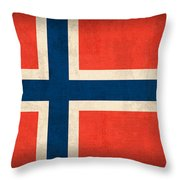 Norway Flag Distressed Vintage Finish Throw Pillow