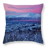 Norwegian Arctic Twilight Throw Pillow by David Broome