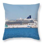 Norwegian Jade Cruise Ship Corfu Throw Pillow