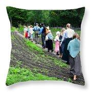 Norwegian Schoolchildren At Norwegian Folk Museum Throw Pillow