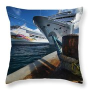 Norwegian Sky Carnival Sensation And Royal Caribbean Majesty Throw Pillow