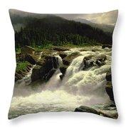 Norwegian Waterfall Throw Pillow by Karl Paul Themistocles van Eckenbrecher