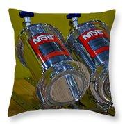 Nos Bottles In A Racing Truck Trunk Throw Pillow
