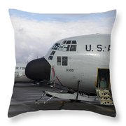Nose Cone Detail On A Lc-130h Aircraft Throw Pillow by Timm Ziegenthaler