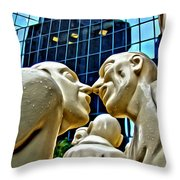 Nose To Nose In Montreal Throw Pillow