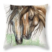 Nose To Nose Watercolor Painting Throw Pillow