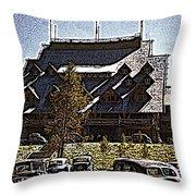 Nostalgia Old Faithful Inn By Cathy Anderson Throw Pillow