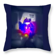 A Girl And Her Dog And Not At All A Munch Vampire  Throw Pillow