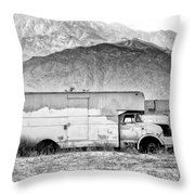 Not In Service Bw Palm Springs Throw Pillow