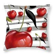 Notes Of Fruits Throw Pillow