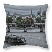 Notre Dame And Boat On The River Seine Paris Throw Pillow