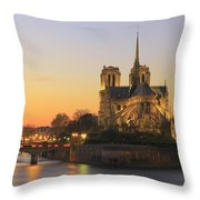 Notre Dame Cathedral At Sunset Paris France Throw Pillow