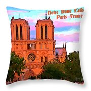Notre Dame Cathedral Poster Throw Pillow
