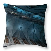 Notre Dame Ceiling North In Teal Throw Pillow