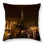 Notre-dame De Paris After Dark Throw Pillow