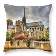 Notre Dame De Paris Cathedral Throw Pillow