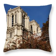 Notre-dame De Paris - French Gothic Elegance In The Heart Of Paris France Throw Pillow