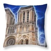 Notre Dame Fractal Throw Pillow