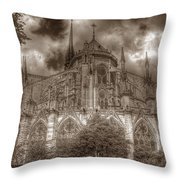 Notre Dame From East Garden Throw Pillow